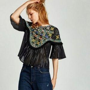Zara Embroidered Bell Sleeves Fringe Blouse